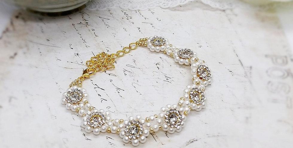 Handgemaakte armband met parels en strass - Wit/Goud