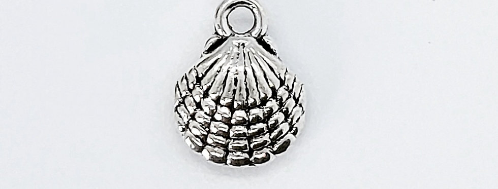 Metalen schelp bedels 14x11mm kleur: Zilver - 4 Stuks