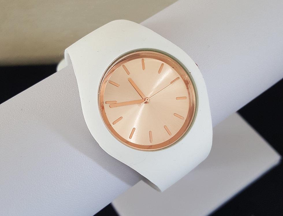 horloge - rosegold/wit