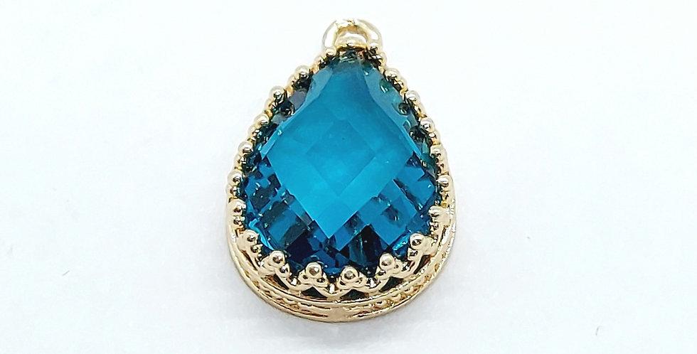 Hangers van Crystal Glass 19x12mm kleur: Goud/blauw - 2 Stuks