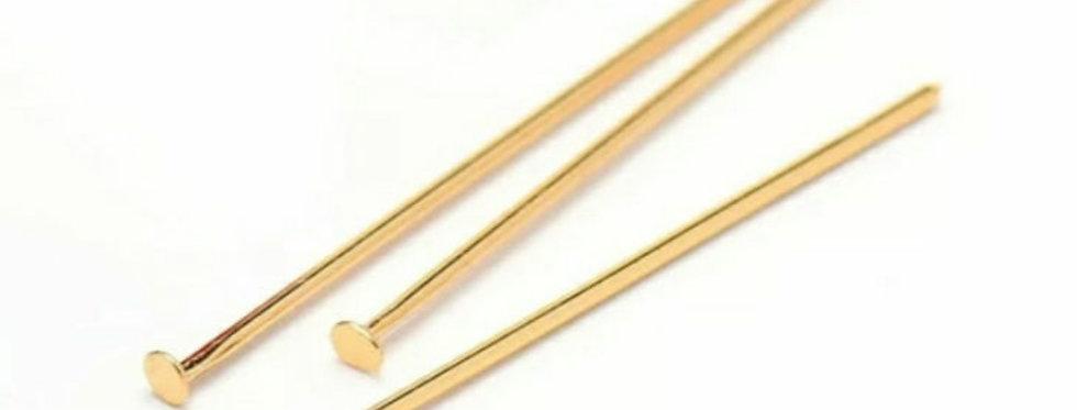 Vergulde RVS Nietstiften 40mm kleur: Goud - 10 Stuks