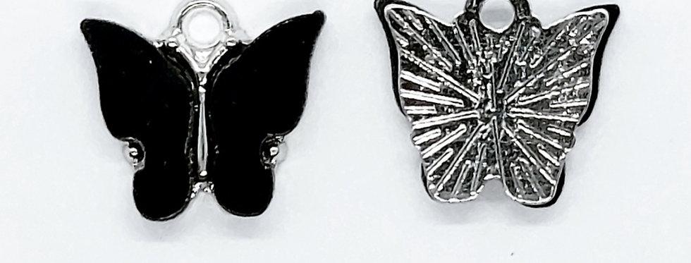 Vlinder Hangers ca. 13x13mm Zwart/Zilver - 2 Stuks