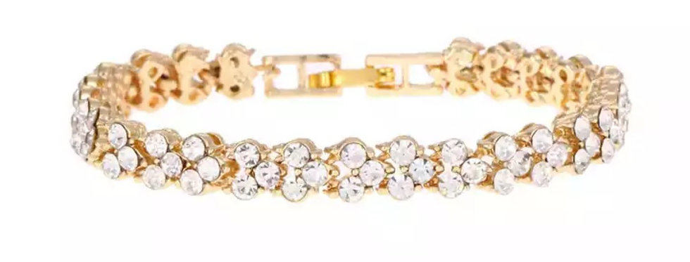 Vergulde Rvs Armband, kleur: Goud - omtrek: 18cm