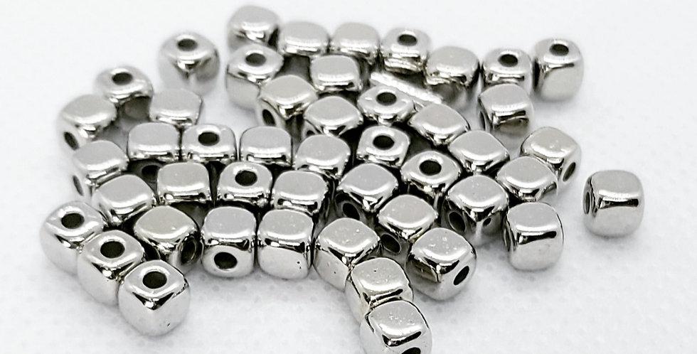 Cubic Acryl Kralen 4mm Antiek Zilver - 30Stuks