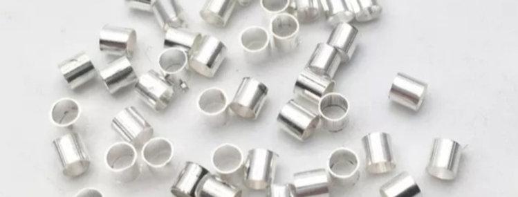 Knijpkralen 1.5mm kleur: Zilver - 30 Stuks