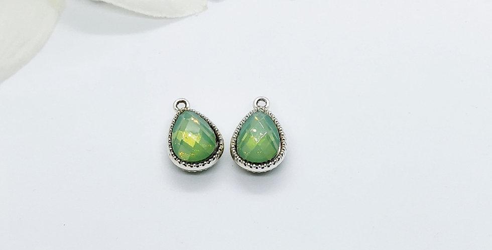 Hangers van Crystal Glass, kleur: Zilver/Groen - 2 Stuks