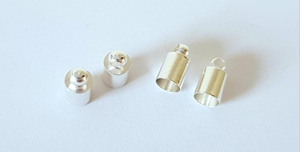 Eindcap diameter 5mm Zilver - 6 Stuks
