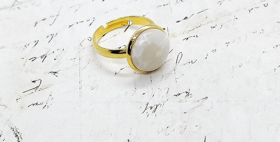 Verstelbare Stainless Steel Ring - kleur: Goud/Wit