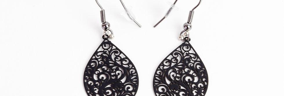 oorbellen met bohemian hanger - zwart