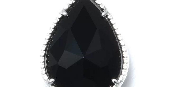 Hangers van Crystal Glass 12x18mm kleur: Zilver/Zwart - 2 Stuks
