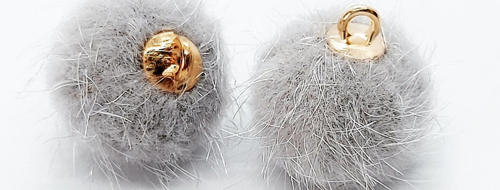 Pompom Hangers 15mm kleur: Grijs - 2 Stuks
