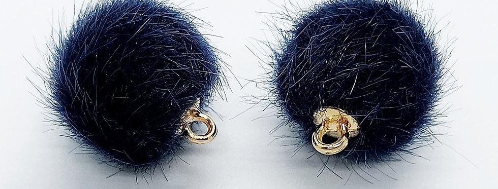 Pompom Hangers 15mm Donkerblauw - 2 Stuks