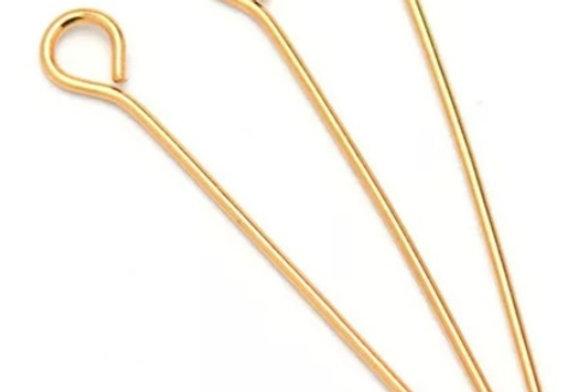 304 RVS Kettelstiften 50mm kleur: Goud - 10 Stuks