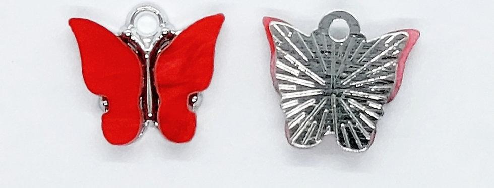 Vlinder Hangers ca. 13x13mm kleur: Rood/Zilver - 2 Stuks