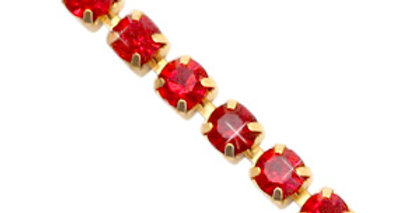 Strass chain ketting Siam red-gold 3mm - 1 Meter