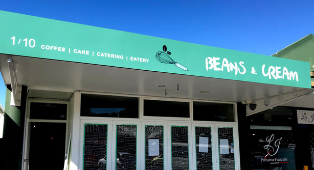 Beans and cream cafe shop signage