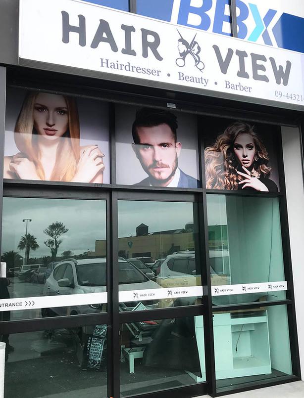 Hair View Window Signage