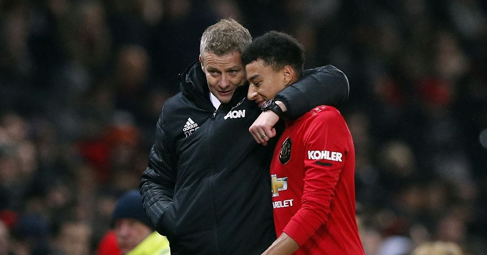 Ole Gunna Solskjaer with Lingard in a game against Tottenham