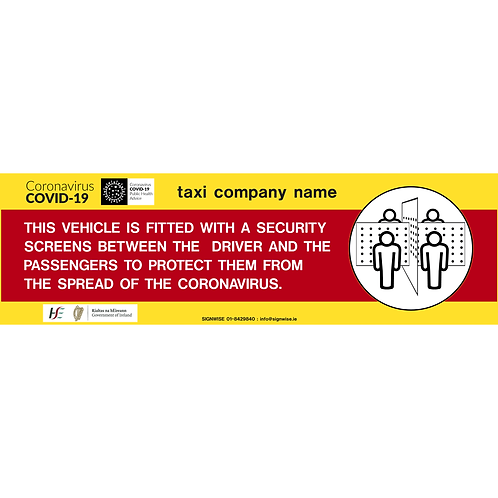 Taxi Screen Sign 400 x 120mm