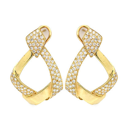2.80 Ct Diamond Yellow Gold Omega Clip Earrings