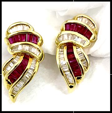 Ruby Diamond Clip Back Earrings