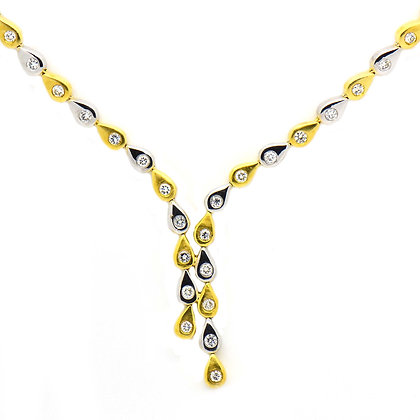 Two-Tone Pear Shape Necklace 1.30 Ct