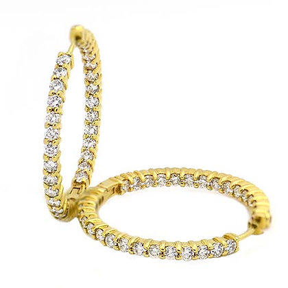 Original Roberto Coin Diamond Hoop Earrings 2.5 Ct