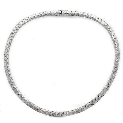 18K White Gold Woven Neck Collar Necklace
