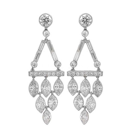 Handmade Marquise Chandelier Earrings 6.58 Cts
