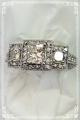 Princess Cut Diamond Engagement Ring 1.85 cts
