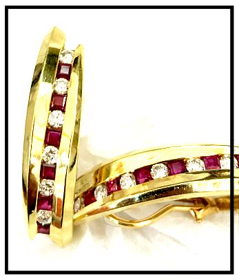 Long Ruby Diamond Clip Earrings