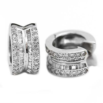 Baguette and Round Diamond Huggies 1 1/4 Cts