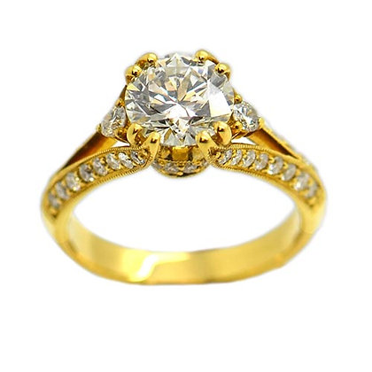 Vintage Style Diamond Engagement Ring 18K 2.40 Cts