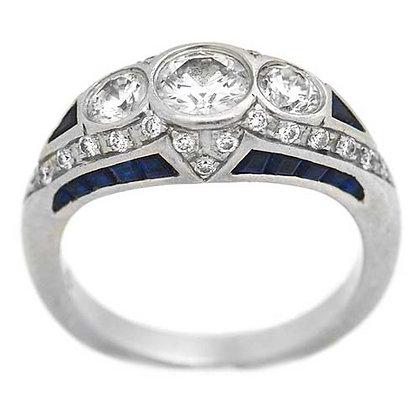 Vintage Three-Stone Diamond Sapphire Ring 2.15 Ct