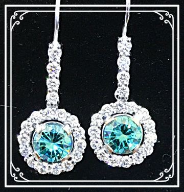 Dangling Blue/White Diamond Earrings