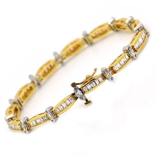 round white prong and ladies diamond marquise set channel bracelet gold baguette diamonds