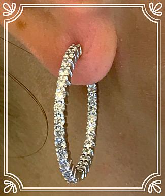 Original Roberto Coin Diamond Hoops 3ct +