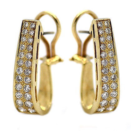 Unique 1.6ct Pave Set Clip Diamond Earring YG