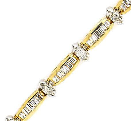Marquise and Baguette Diamond Bracelet 5 Cts