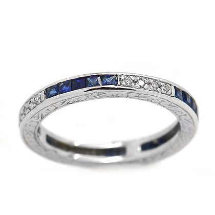 1ct Diamond Princess Cut Sapphire Wedding Band 18K