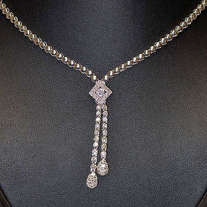 2 1/2 Ct Exquisite Diamond Dangling Necklace 14KWG