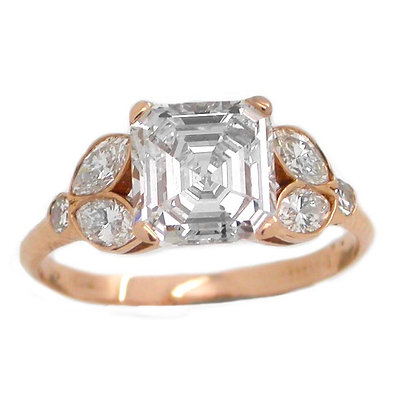 GIA Certified Ascher Engagement Ring 2.30 Cts