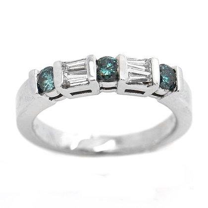 .55 FVS Blue Diamond Wedding Band Anniversary Ring