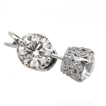 Exquisite Antique Style Diamond Studs 2 1/2 Cts