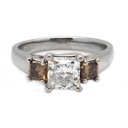 2.17ct Natural Cognac Princess Diamond Engagement