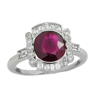 Platinum Handmade 2.12 Ct Ruby Diamond Ring