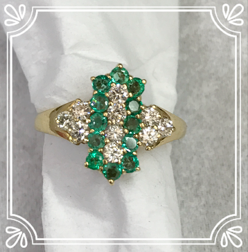 Emerald & Diamond Long Cluster Ring
