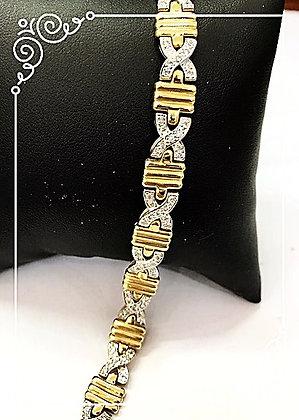 Two Tone Diamond X Bracelet