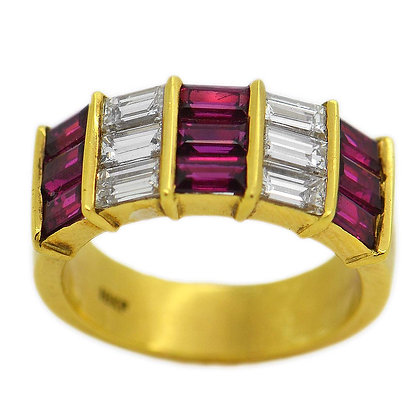 Ruby Baguette Diamond Wedding Band 1.60+1.40