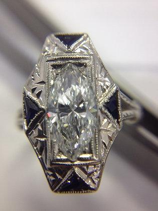 1930's Marquise Diamond w/Sapphires, 19K White Gol